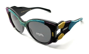 NEW PRADA SPR 10U N5B-5S0 VIOLET / YELLOW / GREY AUTHENTIC SUNGLASSES 54-19
