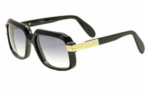 CAZAL 607 001SG Black Gold Square Men's 56 mm Sunglasses