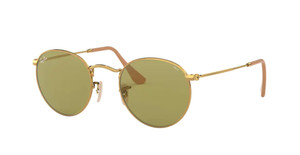 RAY BAN RB3447 90644C Gold Round Unisex 50 mm Sunglasses
