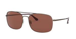 RAY BAN RB3611 012 AF Matte Brown Square Men's 60 mm Polarized Sunglasses