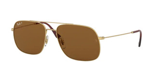 RAY BAN RB3595 901383 Gold Square  Unisex 56 mm Polarized Sunglasses