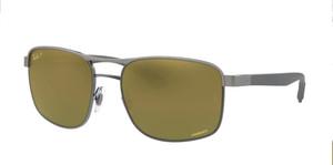 RAY BAN RB3660 90756O Gunmetal Square Men's 58 mm Polarized Sunglasses
