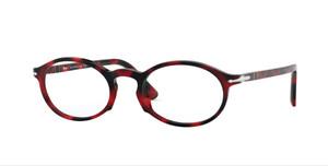 PERSOL PO3219V 1100 Red Grid Oval Unisex 50 mm Eyeglasses
