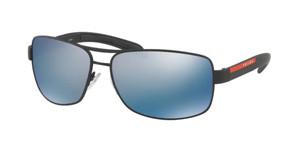 PRADA SPS 54I DG0-2E0 Black Rubber Rectangle Men's 65 mm Polarized Sunglasses