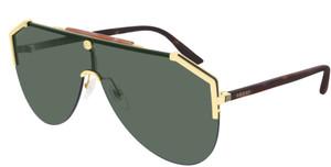 GUCCI GG0584S 002 Mask Gold Dark Havana Green 99 mm Men's Sunglasses