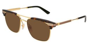 GUCCI GG0287S 003 Havana Gold Rectangle Men's 52 mm Sunglasses