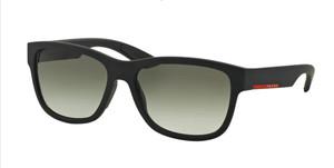 PRADA SPS 03Q DG0-0A7 Black Rubber Rectangle Men's 57 mm Sunglasses
