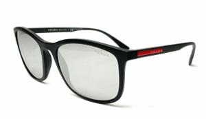PRADA SPS 01TF DG0-2B0 Black Rubber Grey Mirr Silv Lens Men Sunglasses 57mm