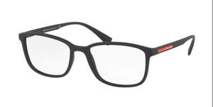 PRADA VPS 04I DG0-1O1 Black Rubber Rectangle Men's 55 mm Eyeglasses