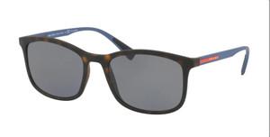 PRADA SPS 01TF U61-144 Havana Rubber Rectangle 57 mm Men's Polarized Sunglasses