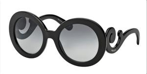 PRADA SPR 27N 1AB-3M1 Black Round Women's 55 mm Sunglasses