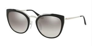 PRADA SPR 20U 4BK-5O0 Silver Black Square Women's 54 mm Sunglasses