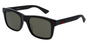 GUCCI GG0008S 001 Rectangular Square Black Green 53 mm Men's Sunglasses