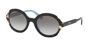 PRADA SPR 17U KHR-0A7 Black Azure Round Women's 53 mm Sunglasses