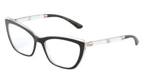 DOLCE & GABBANA DG5054 675 Black on Crystal Cat Eye Women's 56 mm Eyeglasses