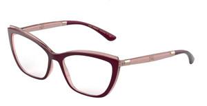DOLCE & GABBANA DG5054 3247 Bordeaux Square Women's 54 mm Eyeglasses