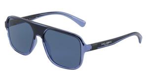 DOLCE & GABBANA DG6134 325880 Transparent Blue Square Men's 57 mm Sunglasses