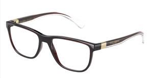 DOLCE & GABBANA DG5053 3295 Transparent Tobacco Rectangle Men's 56 mm Eyeglasses