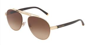 DOLCE & GABBANA DG2235 02 13 Gold Aviator Women's 57 mm Sunglasses