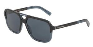 DOLCE & GABBANA DG4354 320980 Havana Transp Blue Square Men's 58 mm Sunglasses