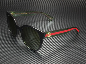 GUCCI GG0035S 002 Round Oval Black Green 54 mm Women's Sunglasses