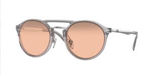 PERSOL PO3264S 309 4Q Transparent Grey Round Men's 50 mm Sunglasses