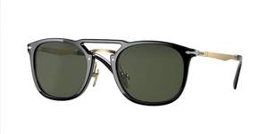 PERSOL PO3265S 95 31 Black Gold Rectangle Square Unisex 50 mm Sunglasses