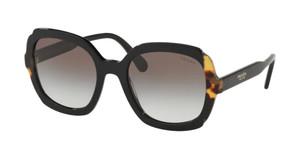 PRADA SPR 16U 389-0A7 Black Medium Havana Square Women's 54 mm Sunglasses