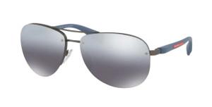 PRADA SPS 56M DG1-2F2 Gunmetal Rubber Pilot Men's 65 mm Polarized Sunglasses
