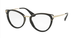 PRADA VPR 53U 1AB-1O1 Black Cat Eye Women's 50 mm Eyeglasses
