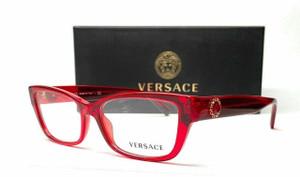 VERSACE VE3284BA 5280 Transparent Red Demo Lens Women's Eyeglasses 54 mm