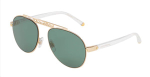 DOLCE & GABBANA DG2235 02 82 Gold Aviator Women's 57 mm Sunglasses