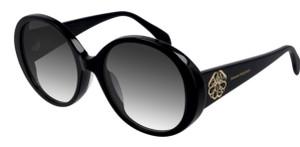 ALEXANDER MQUEEN AM0285S 002 Black Round Oval Women's 57 mm Sunglasses