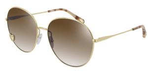 CHLOE CH0027S 001 Gold Round Women's 61 mm Sunglasses