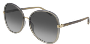 CHLOE CH0030S 001 Grey Square Oval Women's 60 mm Sunglasses