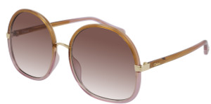 CHLOE CH0029S 002 Yellow Square Oval Women's 58 mm Sunglasses