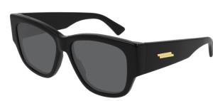 BOTTEGA VENETA BV1026S 001 Black Square Rectangle Women's 55 mm Sunglasses