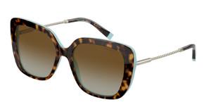 TIFFANY TF4177 8134T5 Havana Square Rectangle Women's 55 mm Polarized Sunglasses