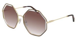 CHLOE CH0046S 001 Havana Gold Square Women's 53 mm Sunglasses