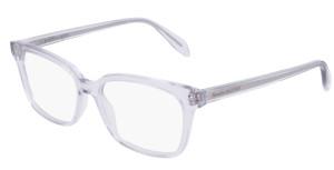 ALEXANDER MCQUEEN AM0243O 005 Violet Transparent Square Rectangle 52 mm Women's Eyeglasses