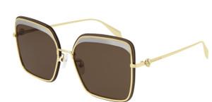 ALEXANDER MCQUEEN AM0222SK 002 Gold Brown Square 62 mm Women's Sunglasses
