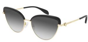 ALEXANDER MCQUEEN AM0257S 001 Black Grey Cat Eye Oval 58 mm Women's Sunglasses