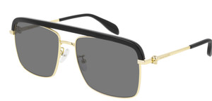 ALEXANDER MCQUEEN AM0258S 001 Gold Black Rectangle Square 59 mm Men's Sunglasses