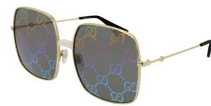 GUCCI GG0414S 003 Gold Square Rectangle Women's 60 mm Sunglasses