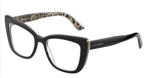 DOLCE & GABBANA DG3308 3299 Black Rectangle Square Women's 51 mm Eyeglasses