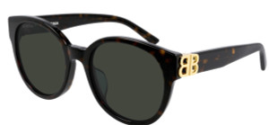 BALENCIAGA BB0134SA 002 Round Havana Gold Green 55 mm Women's Sunglasses