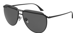 BALENCIAGA BB0140S 001 Pilot Square Black Solid Grey 62 mm Unisex Sunglasses