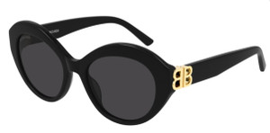 BALENCIAGA BB0133S 001 Oval Round Black Grey Women's 52 mm Sunglasses