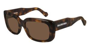 BALENCIAGA BB0072S 002 Havana Rectangle Square Women's 56 mm Sunglasses