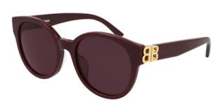 BALENCIAGA BB0132S 004 Burgundy Rectangle Square 53 mm Sunglasses